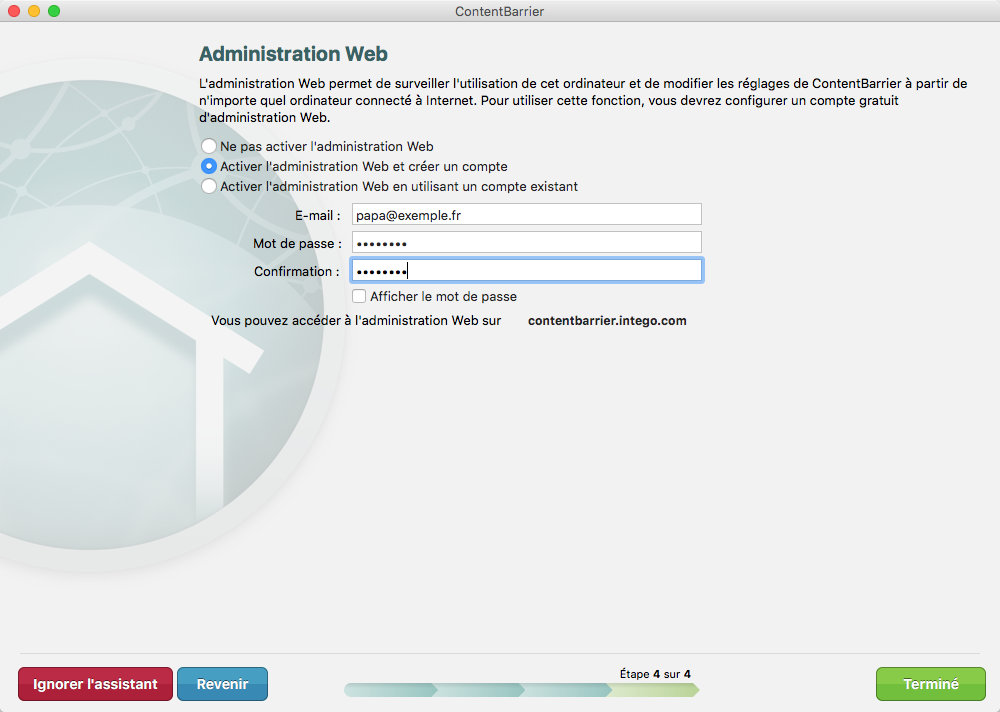 Assistant ContentBarrier > Administration web