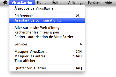 VirusBarrier > Assistant de configuration…