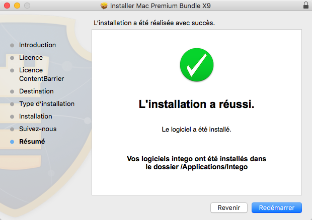Mac Premium Bundle X9 - L'installation a réussi