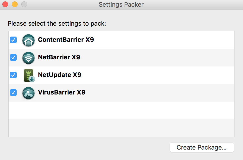 Settings Packer > Create Package