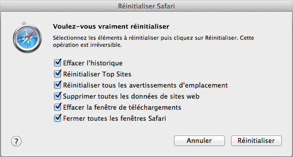 Réinitialiser Safari