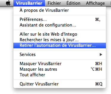 Menu VirusBarrier > Retirer l'autorisation de VirusBarrier