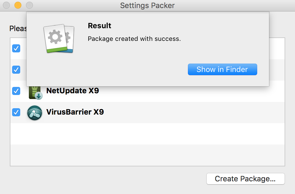 Settings Packer > Create Package > Show in Finder