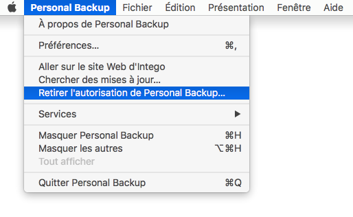 Personal Backup > Retirer l'autorisation de Personal Backup