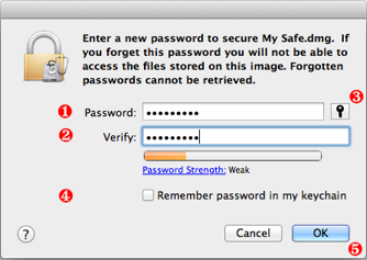 Enter a new password to secure My safe.dmg.