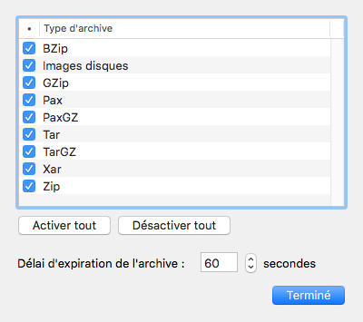 Menu VirusBarrier > Préférences > Scanner - Options d'archives