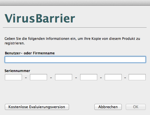 VirusBarrier Registrieren