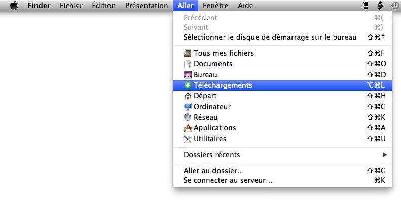 Finder > menu Aller > Téléchargements