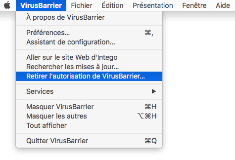 Menu VirusBarrier > Retirer l'autorisation de VirusBarrier…