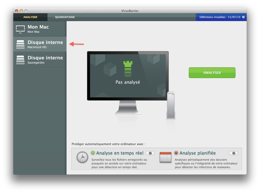 VirusBarrier > Analyser > Macintosh HD