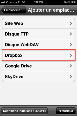 Emplacement Dropbox