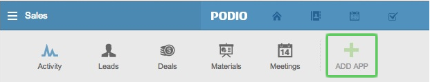 Image: Add App functionality in Podio